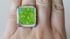 photo I took of a handmade ceramic ring by my friend Kelly of Lean Dog Jewelry. Used to illustrate my page about  How to make a living as an artist or crafter!