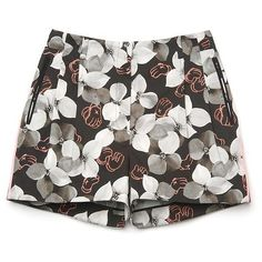 Jason Wu KAWS Floral Fitted Short (1.430 RON) ❤ liked on Polyvore featuring shorts, bottoms, pants, short, patterned shorts, short shorts, floral printed shorts, pleated shorts and floral print shorts