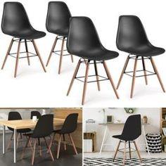 Lot de 4 chaises design tendance rétro eiffel bois chaise de salle
