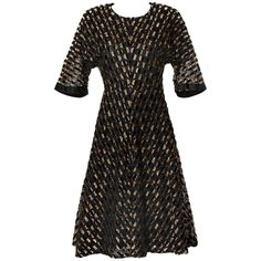 Pre-owned Hardy Amies Vintage Textured Metallic Flocked Organza Dress (7 955 ZAR) ❤ liked on Polyvore featuring dresses, evening dresses, black cocktail dresses, gold metallic dress, short cocktail dresses, skater skirt and vintage black dress