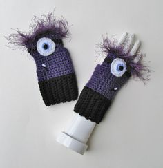 Despicable Me Evil Minion Wristwarmers, Fingerless Mitts, Crocheted Texting Gloves, Adorable Stocking Stuffer, Ready to Ship - pinned by pin4etsy.com
