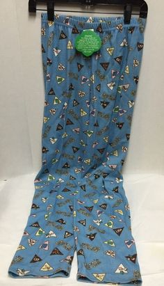 Girl Scouts Brownie Leggings Size 16 New Blue Print Pictures Elastic Waist #GirlScoutsofAmerica #Pants