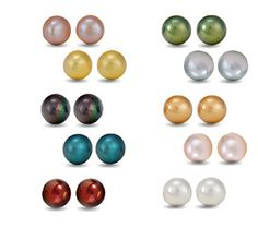 $14.99 - Signature Pearl Stud Collection, 10 Earring Sets in Sterling Silver