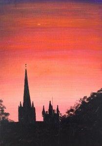 """Llandaff August Evening: new work. 16x11"""" acrylic."""