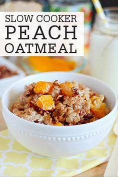 Oatmeal cooks in the slow cooker with juicy peaches, pecans, and cinnamon in this Peach Oatmeal recipe. It's such an easy breakfast to put together that is filling and absolutely delicious!