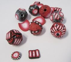 Tutorial.  Rough polymer clay beads that needs no sanding or varnishing are fun to make.  By using only a few colors and making some basic canes, you can make several different looking beads in the same batch. M