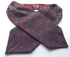 VINTAGE SILK and COTTON DAY CRAVAT ASCOT Claret Blue Paisley Reversible FREE P&P #Cravat