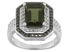 1.53ct Emerald Cut Moldavite, .17ctw Round White Topaz With .17ctw Round Green Diamond Silver Ring