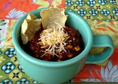 "Our family recipe for slow cooker chili. Less time in the kitchen means more time crafting!    Vickie Howell: Rock on! in the Kitchen - Crockpot Vegetarian ""Beef"" Chili Inside Interweave Crochet - @Crochet Me"