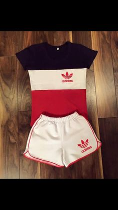 Red, white and blue cute Adidas outfit. Cute Lazy Outfits, Chill Outfits, Sporty Outfits, Teen Fashion Outfits, Nike Outfits, Swag Outfits, Outfits For Teens, Trendy Outfits, Summer Outfits