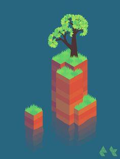 중간에 배치하여 움직이는 잔디 / 식생 / 물표현 #voxel#isometric #art