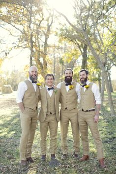 Loving these bearded groomsmen and their folksy attire! Photo by Sarah Kate, Photographer.