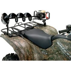 """MOOSE UTILITY DIVISION ICE AUGER CARRIER.  Fully adjustable and easy to use. This carrier mounts to the ATV's rack to keep the ice auger from rolling around and protect the blade's edge and the finish on your rack.  """"VISIT SITE"""" ABOVE FOR ALL INFO."""