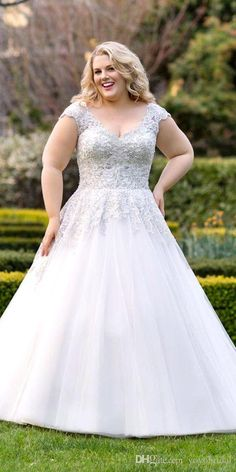 Awesome Vintage V Neck Plus Size Wedding Dress A Line Tulle Cap Short Sleeves Applique Lace New