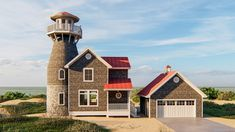 Lookout tower House Plans Lovely Coastal Living Home Plan with Lookout tower Dj Coastal House Plans, Coastal Homes, Coastal Living, Building A Fence, Building A House, Building Plans, Lookout Tower, Large Kitchen Island, Harbor View