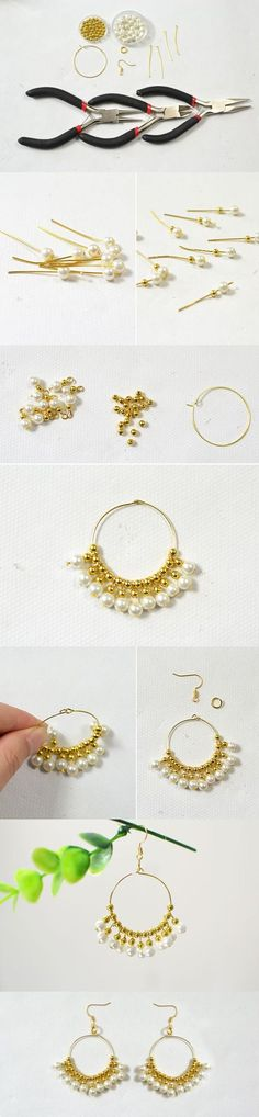 Today I will share with you a pair of wedding pearl dangle hoop earrings DIY project. I love the finished gold hoop earrings and hope you like it too! Thread Jewellery, Wire Jewelry, Jewelry Crafts, Beaded Jewelry, Handmade Jewellery, Jewellery Box, Diy Schmuck, Schmuck Design, Beaded Earrings