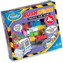 """The cool junior version of MindWare's most popular game, this sliding-block puzzle teaches strategic thinking and how to follow sequential instructions. Kids shift colorful plastic vehicles out of the way so the ice cream truck can escape, increasing their skill with 40 challenge cards from One Scoop (beginner) to Banana Split (expert). Each card has a solution on back. Includes travel bag. About 5 1/2"""" x 6""""."""