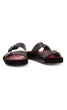 Isabel Marant Lenny Suede-Trimmed Buckled Leather Sandals Black - Isabel Marant #IM #sandals #fashion #ss17