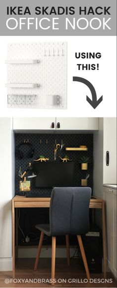IKEA SKADIS HACK - Learn how to customise the ikea skadis pegboard to fit into a mini office nook. This hack is great for organising small work spaces and hides ugly computer wires (small apartment living hacks) Small Workspace, Small Space Office, Small Space Living, Ikea Workspace, Home Office Design, Home Office Decor, Home Interior Design, Home Decor, Office Designs