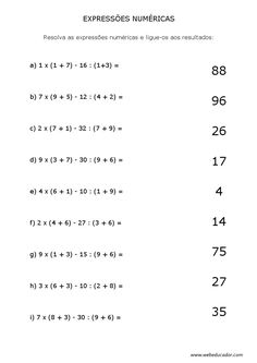 expressões numéricas