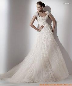 Wunderschöne Luxuriöse Brautkleider aus Spitze und Satin A-Linie rückenfrei