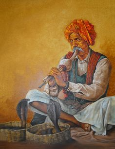 Rare Thoughts Art Gallery Snake charmer Painting