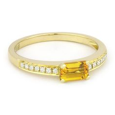 0.59ct Baguette Cut Citrine & Round Diamond Promise Ring in 14k Yellow Gold - AlfredAndVincent.com