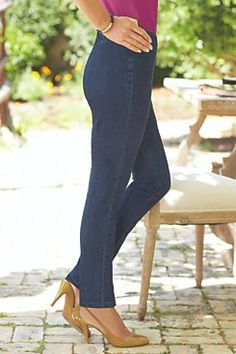 Metro Leggings from Soft Surroundings. Blue Denim and White Denim. Look good and very comfortable. Linen Pants Women, Pants For Women, Clothes For Women, Ladies Pants, White Denim, Blue Denim, Misses Clothing, Women's Clothing, Clothing Styles