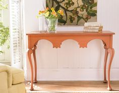 """MENDOCINO CONSOLE WITH TV ABOVE IN LIVING ROOM - COCO FINISH (not orange) 48"""" x 18"""" x 32"""" high Somerset"""