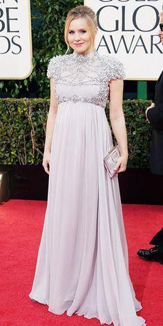 Kristen Bell - modest (and pregnant) fashion - 2013 Golden Globes