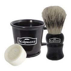 SCALPMASTER SHAVING SET - RUBBERIZED PROFESSIONAL SHAVING MUG  Rubberized professional shaving mug.  Raised inner rings hold soap firmly in place. The ergonomic handle provides a better grip, and the durable material is easy to clean.  Kit includes:  Shaving Mug Bar of Shaving Soap - provides a rich, long-lasting lather 100% Boar Bristle Shaving Brush - Helps soften and lift beard for a close, clean shave.