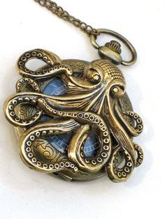Steampunk - OCTOPUS Pocket Watch - Mechanical - Antique Brass - Necklace - Nautical - Neo Victorian - By GlazedBlackCherry-. $54.99, via Etsy.