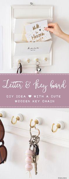 DIY Letter & Key board / Briefablage & Schlüsselbrett mit Anhänger selber basteln aus Holz