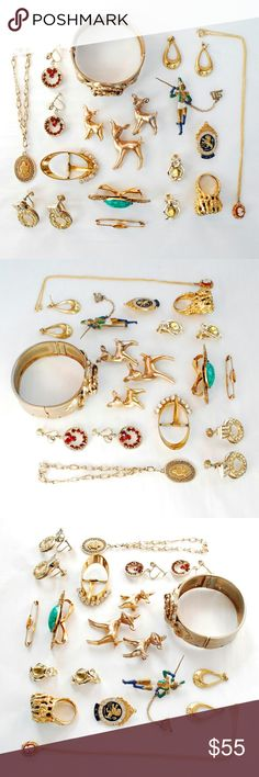Bundle of Gold Tone Vintage / Antique Jewelry This is a collection of gold tone vintage jewelry in a variety of shapes and sizes.  In this lot we have: 6 Brooches 3 Pairs of clip on earrings (one pair is missing a few rhinestones) 2 Braceletes 1 Necklace 1 Ring 1 Buckle 1 Scarf clip 1 Pair of post earrings  This collection is an antique assortment of interesting things that have a lot of potential. You get all the items pictured above.  Comment below if you have any questions Jewelry