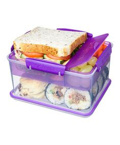 Pretty cool little lunch container, locking clips and easy open, BPA free. Purple Lunch-to-Go Tub, freezer, microwave, and dishwasher-safe container