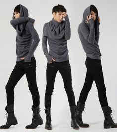 Androgynous Fashion, Tomboy Fashion, Androgyny, Androgynous Look, Fashion Black, Sweater And Shorts, Sweater Outfits, Jumper, Edgy Outfits