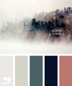 Color Inspiration  misty tones- I really like the light/sage green. Maybe for the kitchen walls?