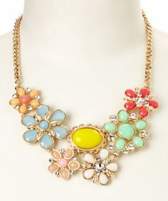 This Mint & Red Floral June Bib Necklace is perfect! #zulilyfinds