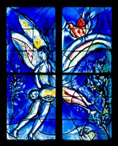 St. Stephen Church, Mainz - Stained glass angel by Marc Chagall  - Photo by hoggsvilleBrit