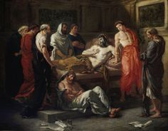 #Eugène #Delacroix, the last words of the #Emperor #Marcus #Aurelius, a modern representation of the death of mark: the Emperor, Center, sits in bed, surrounded by friends and dignitaries, and squeezes the arm of #Commodus (right), dressed in red, clean shaven and dressed in Oriental manner, with earrings and a Crown, and appearing aloof and nonchalant.