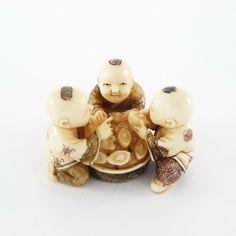 Mammoth Ivory Netsuke - Three Children Sending Gold