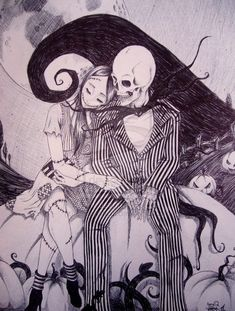 "Jack and Sally. Favorite movie - ""The Nightmare Before Christmas"""