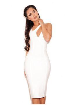 e43ebbdd656 Elisia White Peek-A-Boob Bandage Dress White Bandage Dress