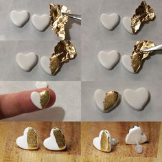 How I make my white polymer clay earrings with gold leaf detail. I love how smooth they are! How I make my white polymer clay earrings with gold leaf detail. I love how smooth they are! Ceramic Jewelry, Polymer Clay Jewelry, Resin Jewelry, Diy Jewelry, Concrete Jewelry, Leaf Jewelry, Fimo Clay, Jewellery Box, Jewelry Stores