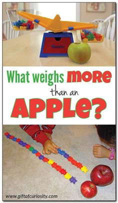 What weighs more than an apple? I love this preschool math activity that helps children learn about weight and compare quantities. This activity can easily be adapted to use other objects to fit other themes. || Gift of Curiosity