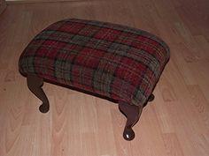 XXL Super size footstool in various luxury tartan fabrics and solid dark wood legs Red