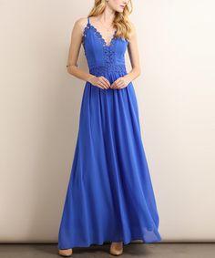 Look what I found on #zulily! Blue Crochet-Trim V-Neck Maxi Dress #zulilyfinds