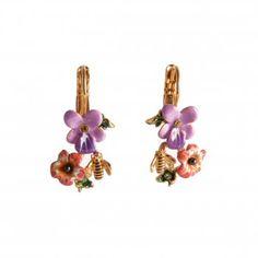 Boucles d'oreilles Alphabet Fleuri abeille et violette