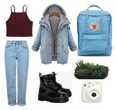 """""""Untitled #77"""" by nyclovelyfantasies ❤ liked on Polyvore featuring Topshop, Fujifilm, Lux-Art Silks, Fjällräven, Aéropostale and Dr. Martens"""
