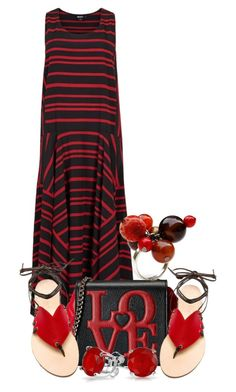 """""""Handkerchief Hem Dress (OUTFIT ONLY!) (2)"""" by queenrachietemplateaddict ❤ liked on Polyvore featuring DKNY, Love Moschino, Cornetti, Sipora Aguia, Bling Jewelry and redandblack"""
